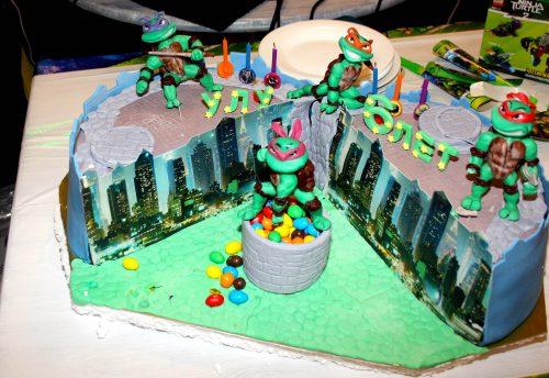 Торт в стиле черепашки Ниндзя